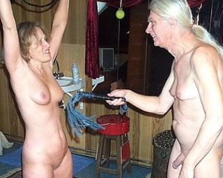 Kinky mature couple uses whips and chains